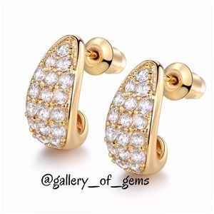 18K Gold Sapphire Perfect Half Hoop Earrings!